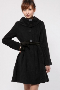 '.Пальто черное (без пояса) .'