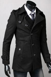 '.Черное пальто с поясом .'